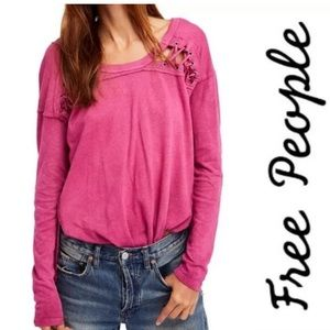 Free People laced shoulder raspberry long sleeve